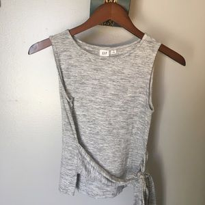 GAP Grey Front Wrap Sleeveless Top XS